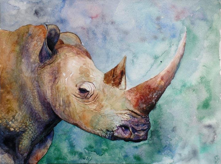 Rinoceronte, criatura fantástica / Rhino, fantastic creature 40x30cm
