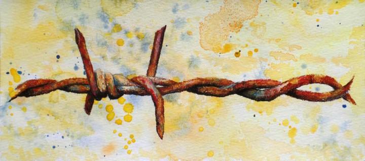 Alambre de espinos oxidados 3 / Rusty wire thorns 3 30x13cm