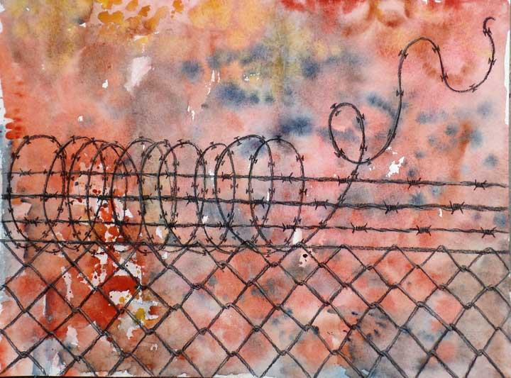 Valla de alambre espinoso / Barbed wire fence 40x30cm