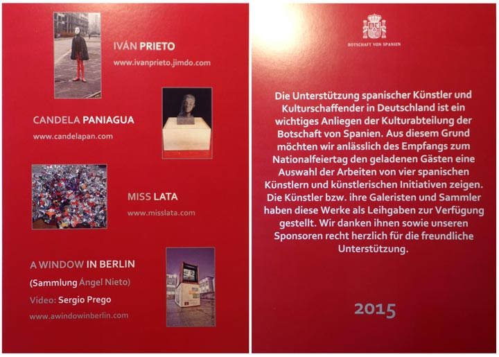 Flyer Exposición Embajada de España en Alemania 2015 / Flyer Exhibition Spanish Embassy in Germany 2015